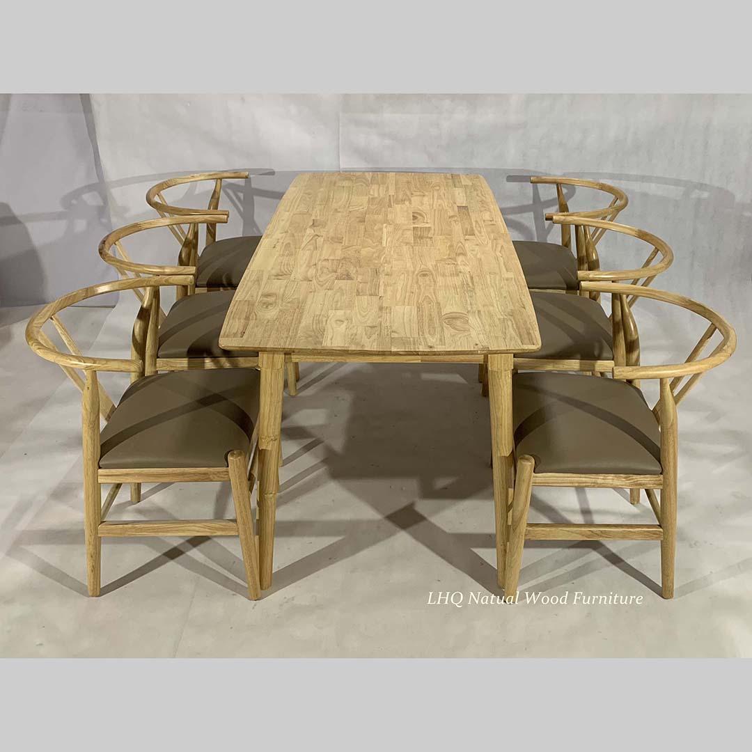 bộ bàn ghế ăn wishbone