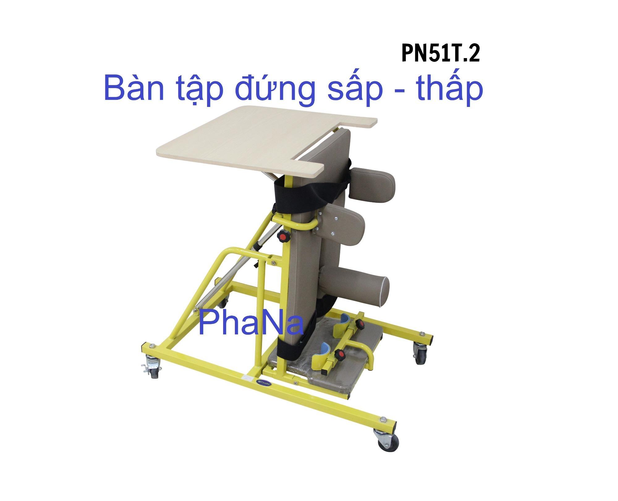 PN51T.2 Khung tập đứng sấp trẻ khuyết tật thấp có ụ ngồi