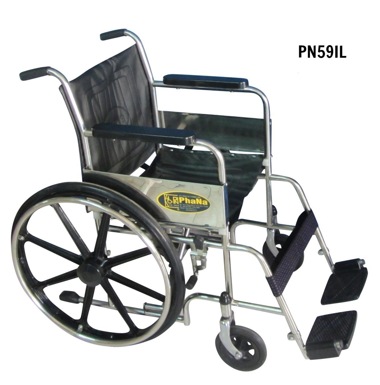 PN59IL - Xe lăn inox người lớn (xe lăn tiêu chuẩn)