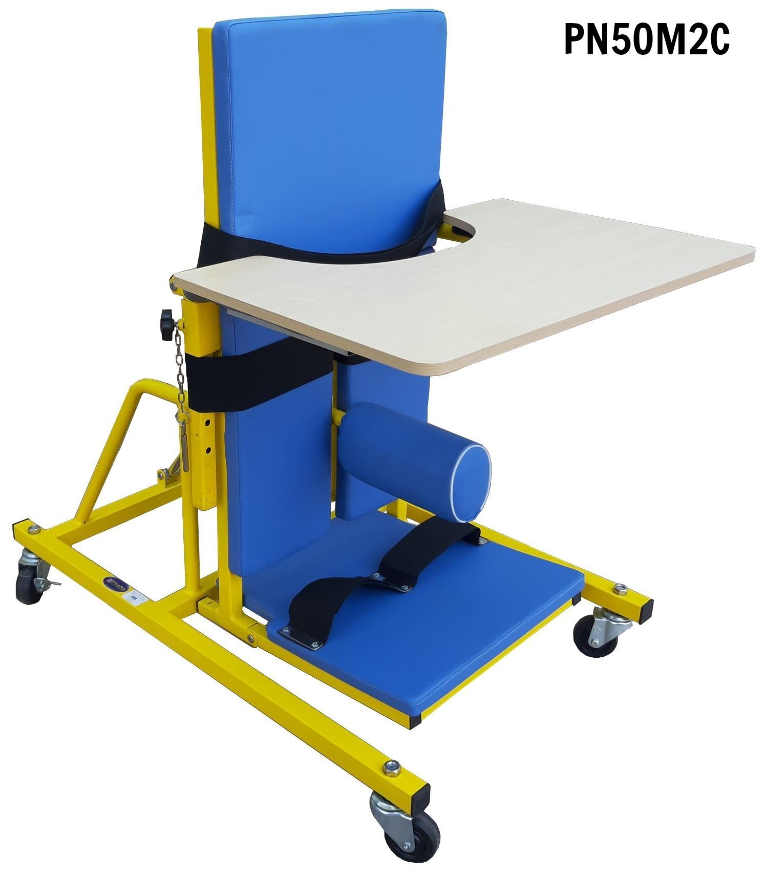 PN50M2C - Bàn tập đứng thẳng bại não M2 loại cao có ụ ngồi