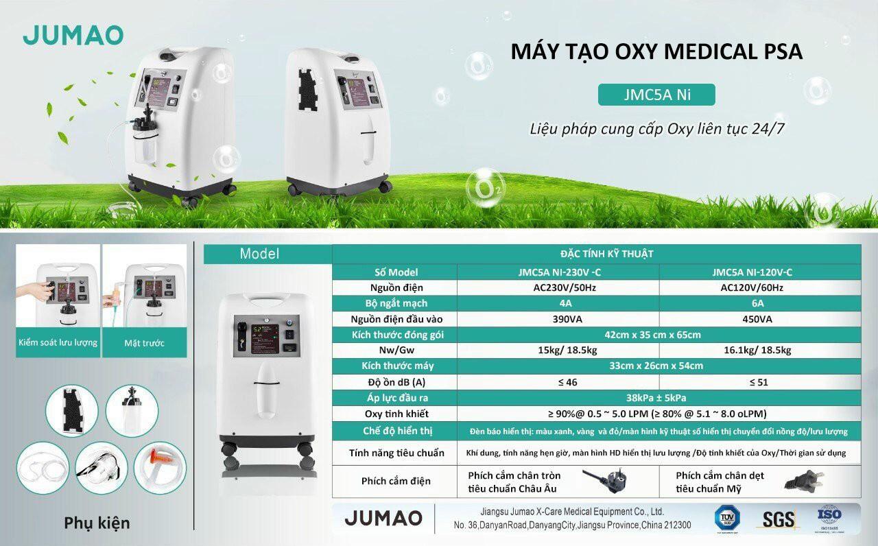 JMC5A - Máy Tạo Oxy Chuyên Dụng Jumao JMC5A 5 lít – Có Xông Khí Dung