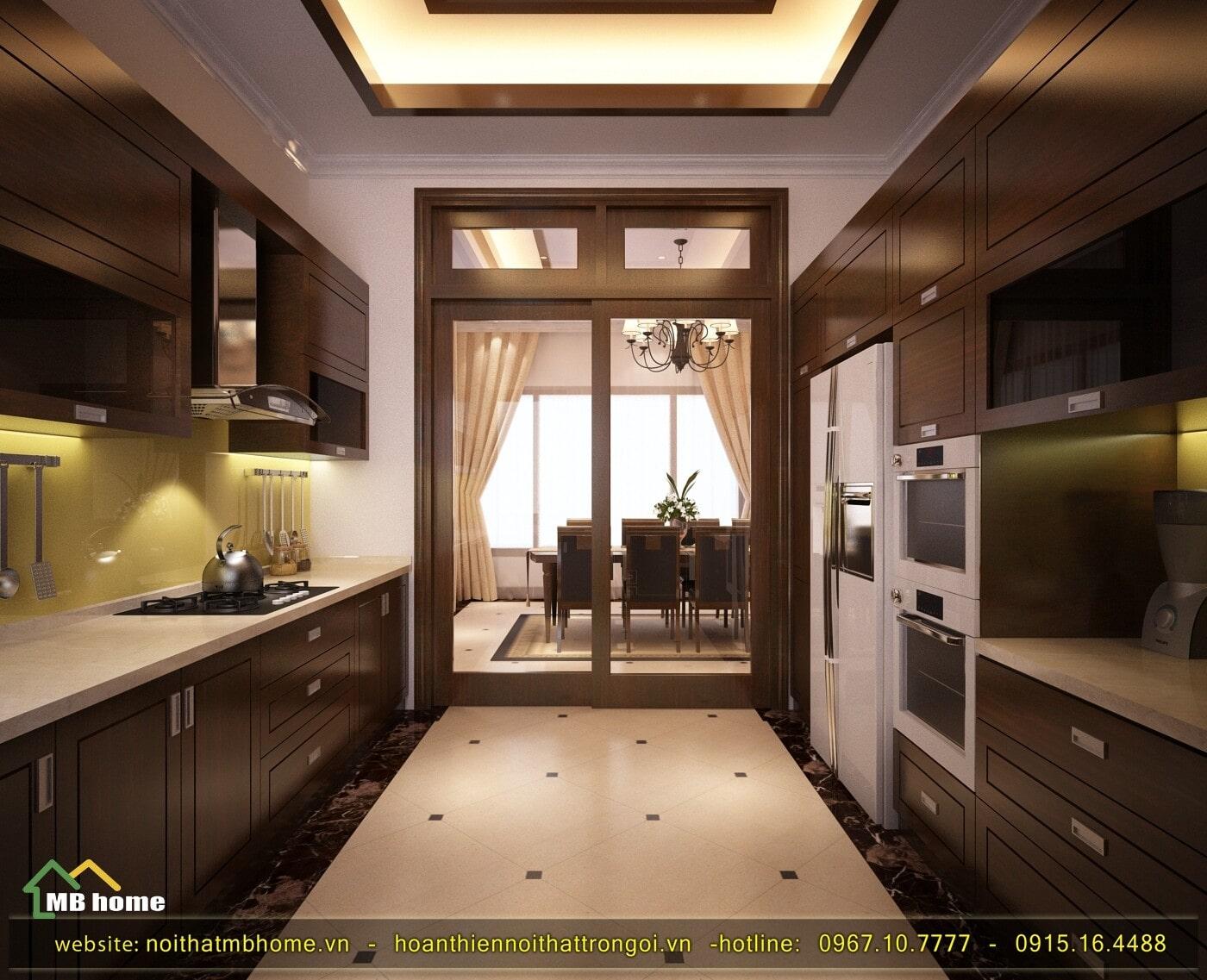 thiết kế tủ bếp gỗ