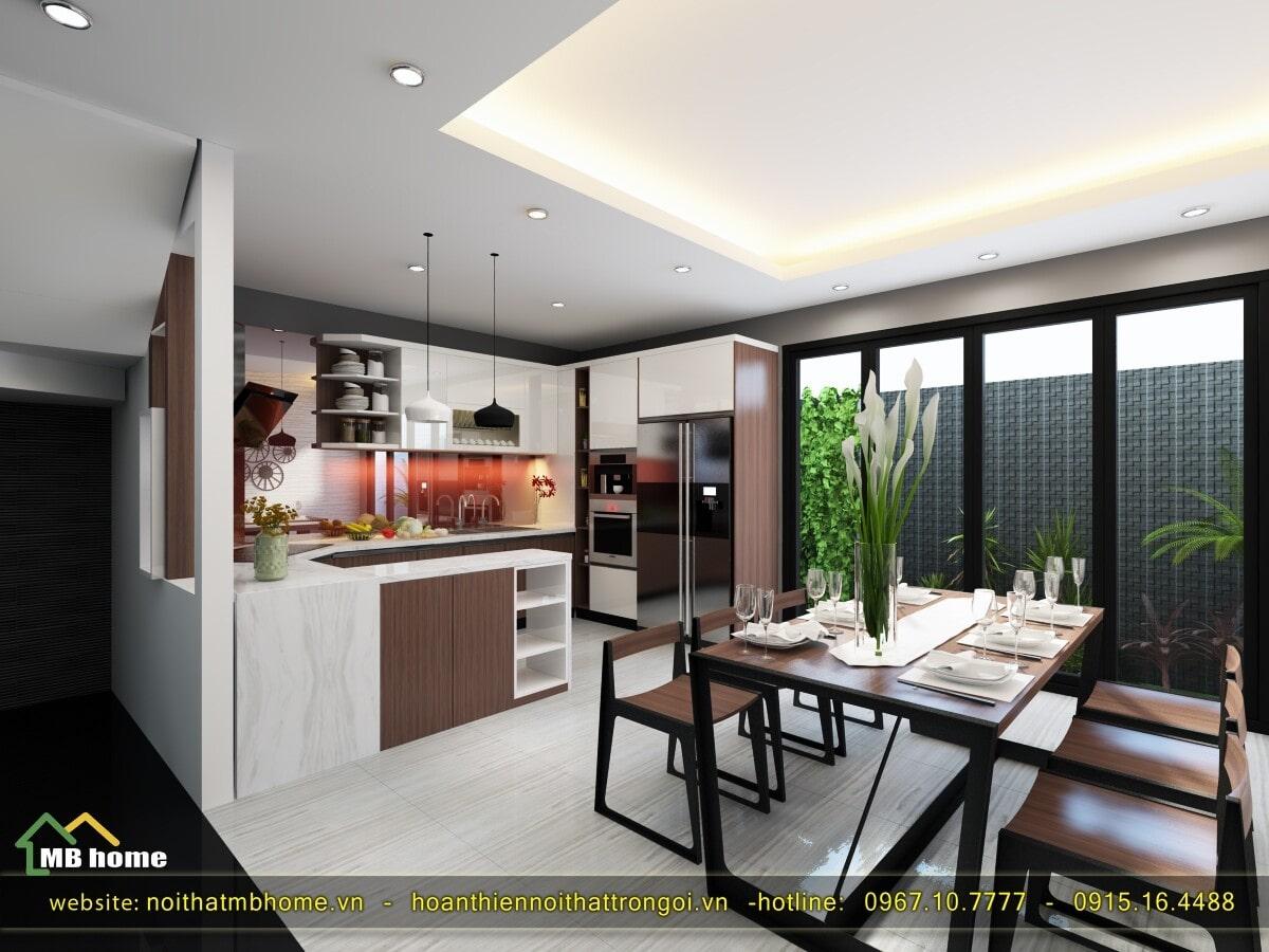 thiết kế tủ bếp treo tường