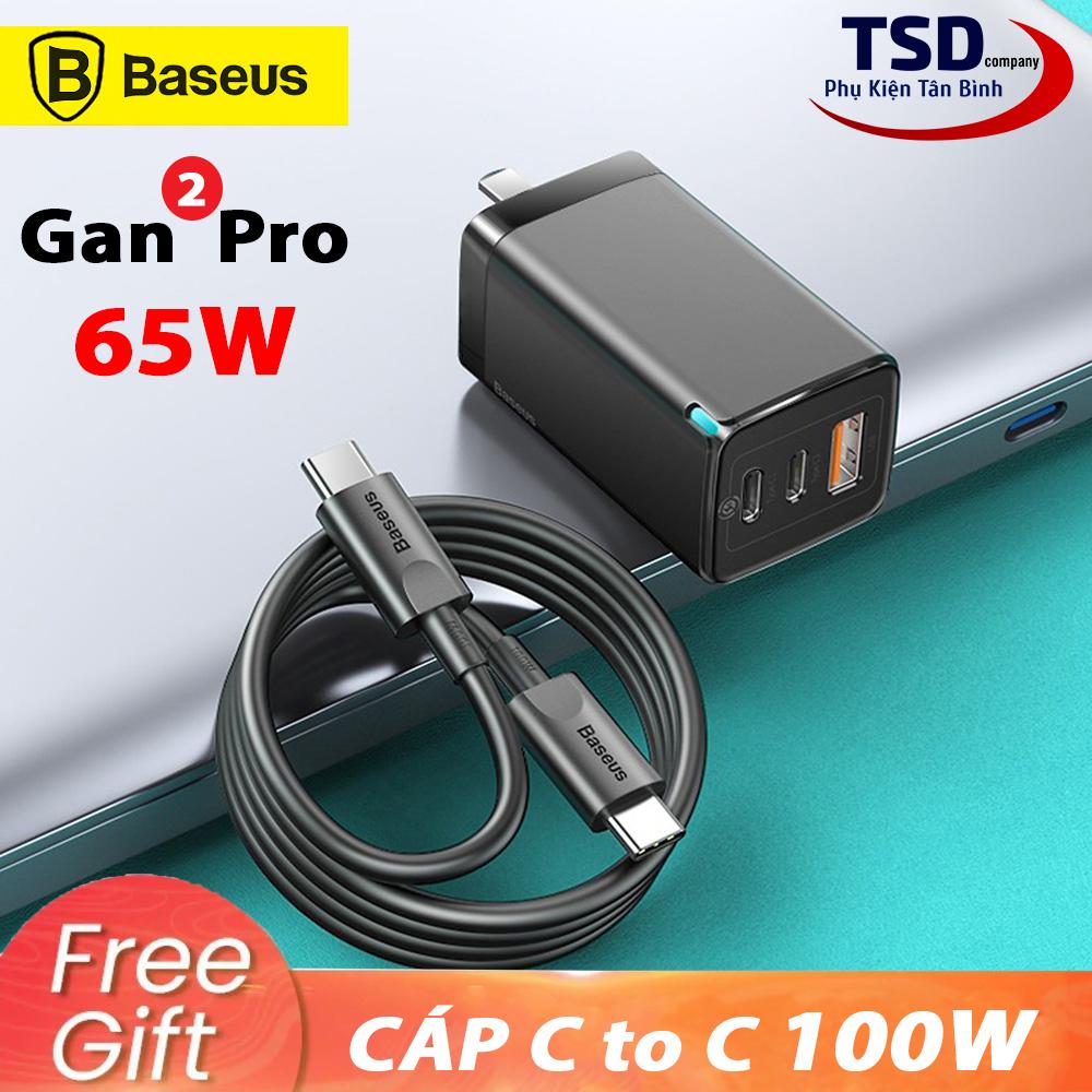 Bộ Sạc Nhanh Đa Năng Baseus Gan 2 Pro Quick Travel Charger 65W Chính Hãng