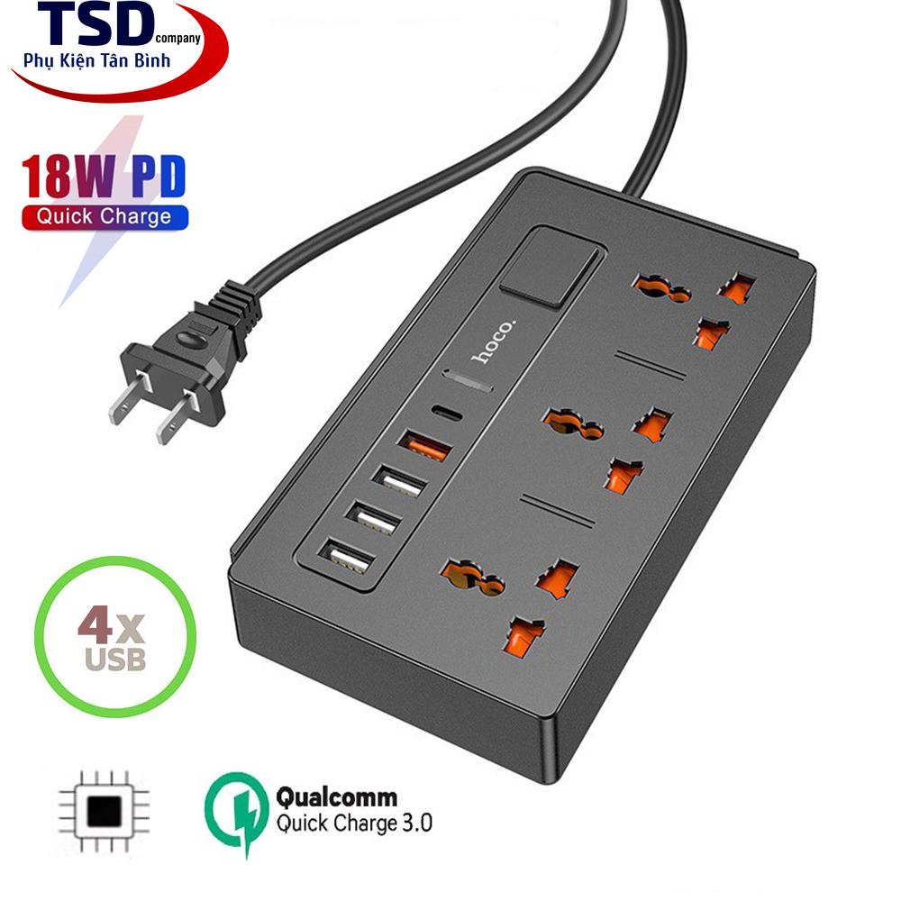 Ổ Cắm Điện Đa Năng Có Cổng USB Thông Minh Hoco DC15 Chính Hãng