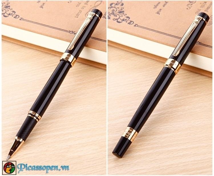 Bút dạ bi cao cấp Picasso 917 màu đen cài vàng
