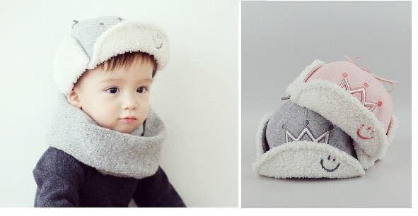 Mũ lót lông hình vương miệng cho bé
