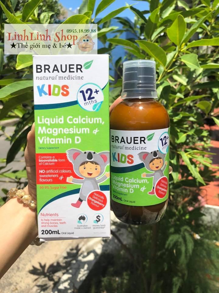 Brauer Natural Medicine Kids Canxi Lỏng, Magiê & Vitamin D