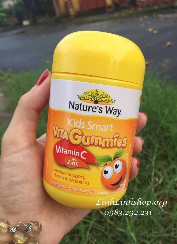 Kẹo dẻo Nature's Way Kids Smart Vita Gummies Vitamin C & Zinc 60 viên