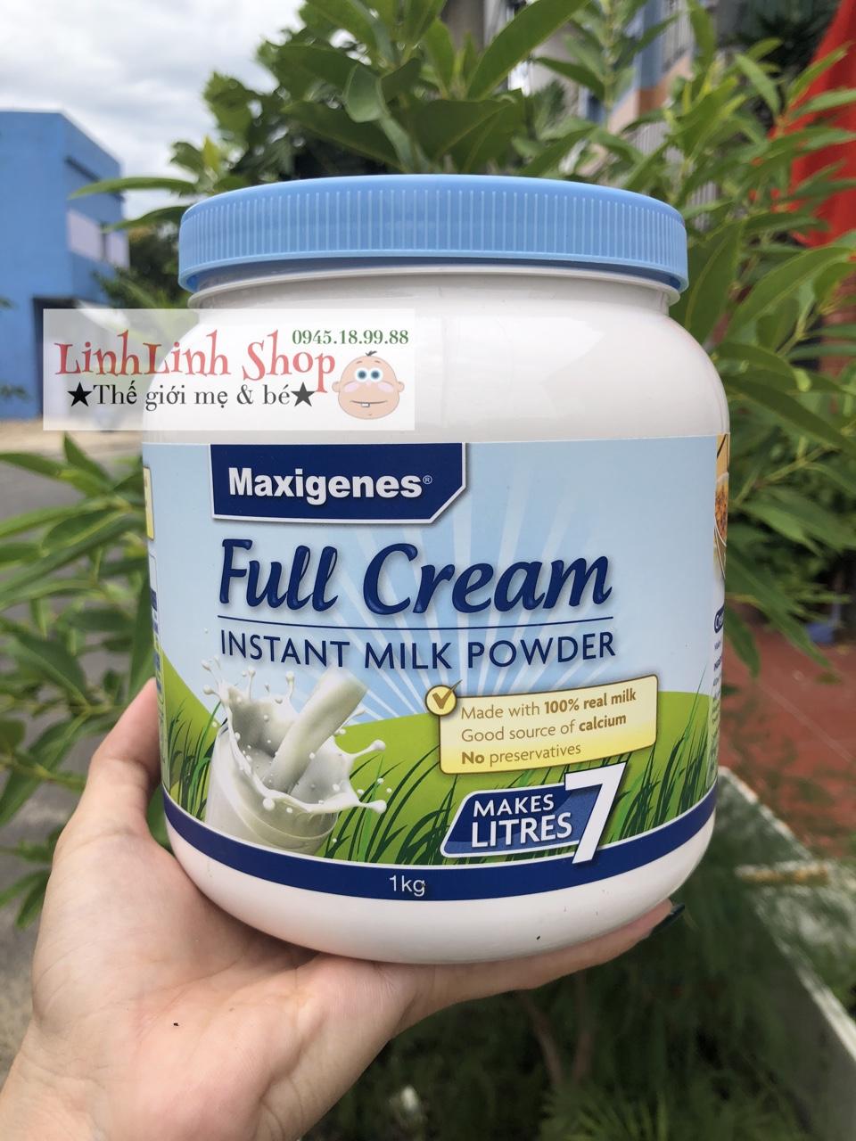 Sữa tươi dạng bột cao cấp nội địa Úc Maxigenes Full Cream