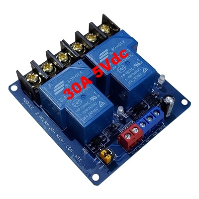 30A 5Vdc 2 relay module with optocoupler HTC