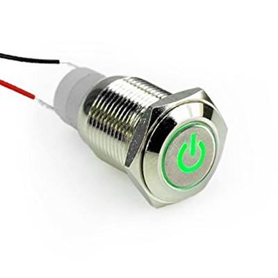 PW-1 Button switch 16mm 12V Green