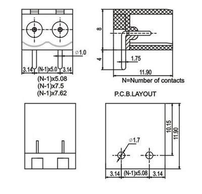 10Pin  PCB Terminal Block-R-A