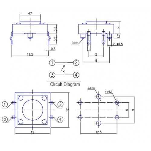 Tact switch 12A-14