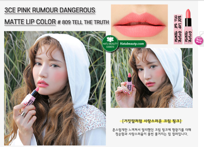 Son 3CE Pink Rumour Dangerous Matte Lip Color