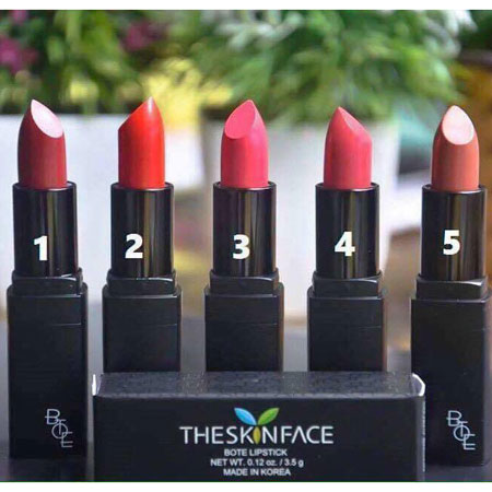 5 màu Son môi The Skin Face Bote Lipstick