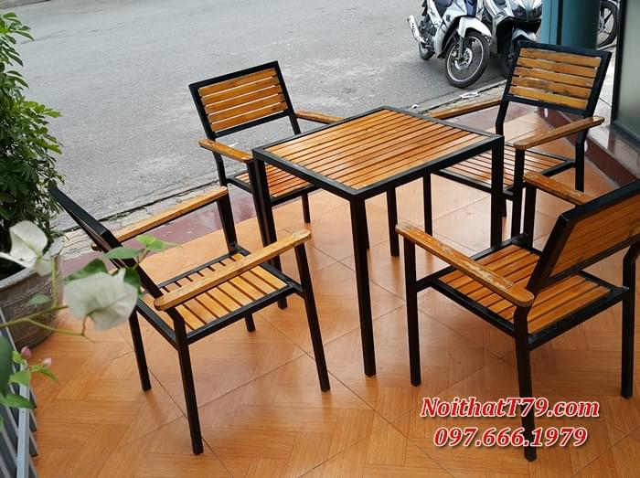Bàn ghế chân sắt mặt gỗ 162439
