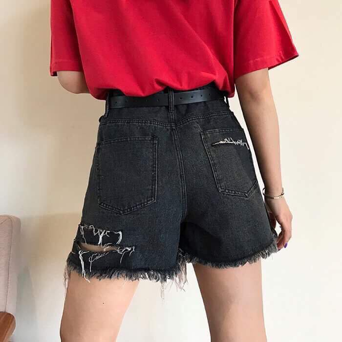 Short jean rách tua lai cut-out
