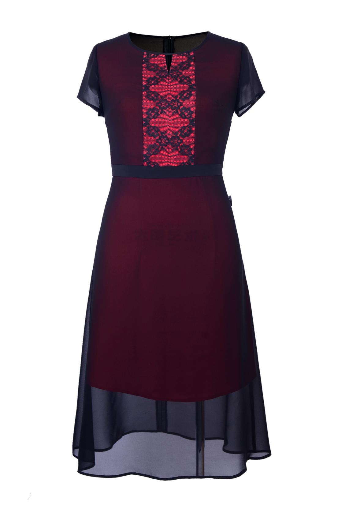 Đầm xòe phủ voan đen