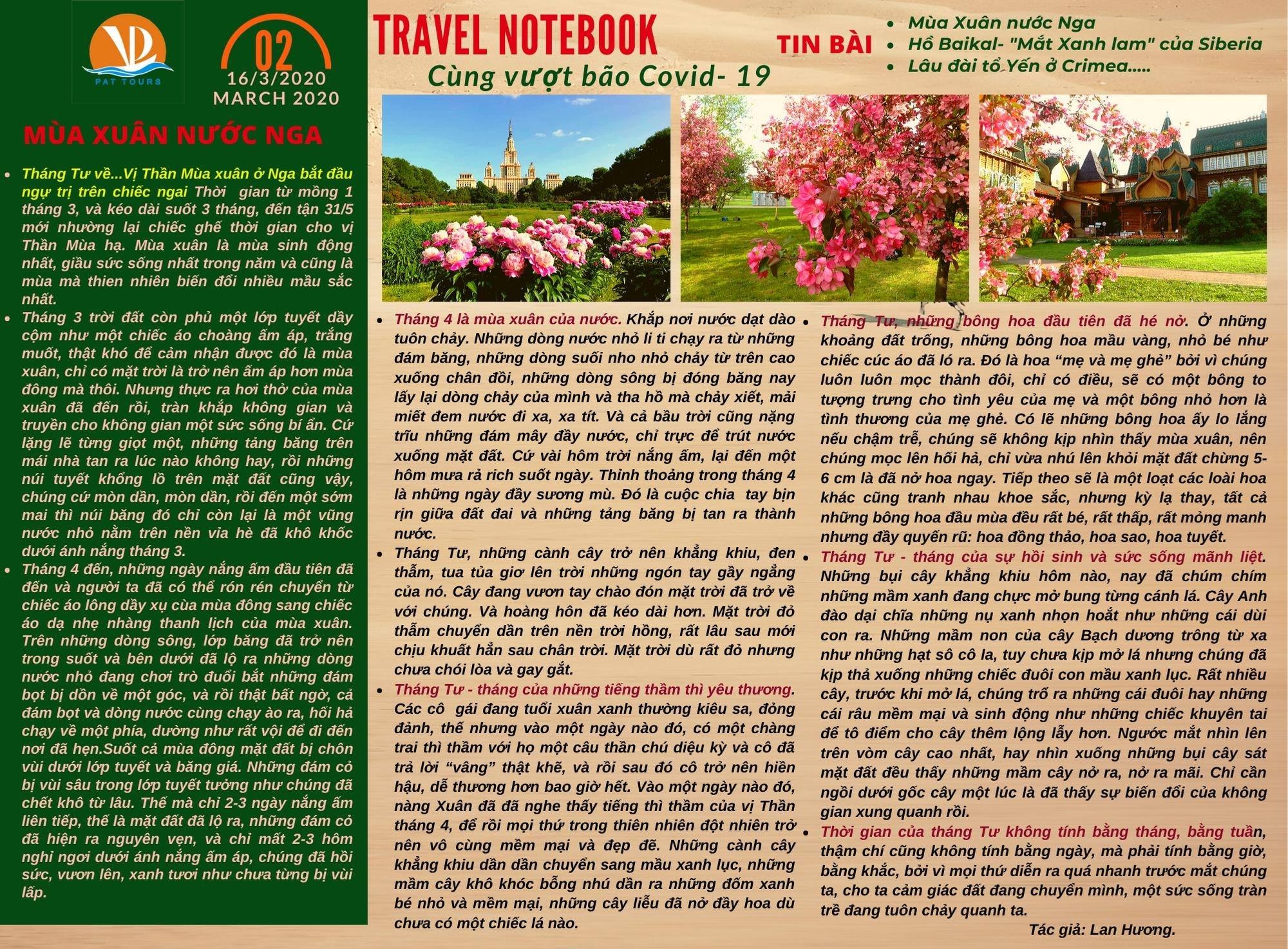 TRAVEL NOTEBOOK -số 2 ngày 16/3/2020