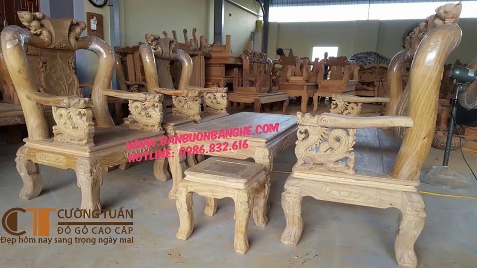 Bộ Bàn Ghế Kiểu Quốc Đào Tay Rồng Cột 12 Hàng 6 Món ( Gỗ Lim ) Mộc