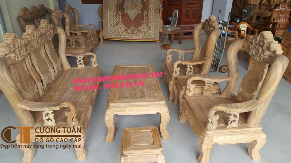 Bộ Bàn Ghế Lá Tây - Bẩng Trơn - Cột 12 - 6 Món ( Gỗ Lim) - Mộc