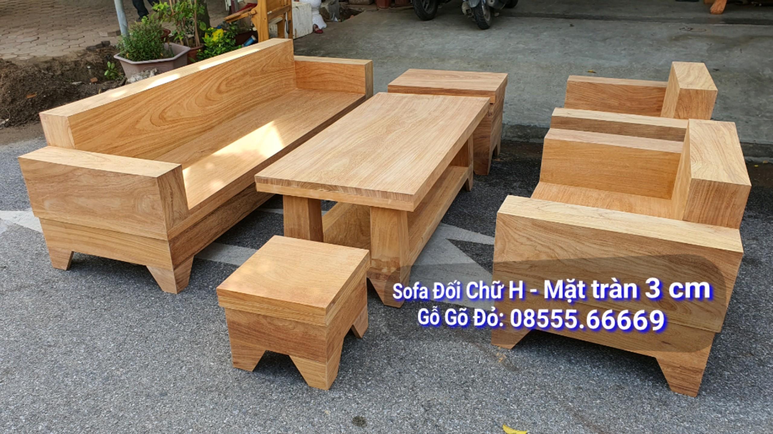 Bộ Bàn Ghế Sofa Đối Mặt Liền 3 cm Gỗ Gõ Đỏ
