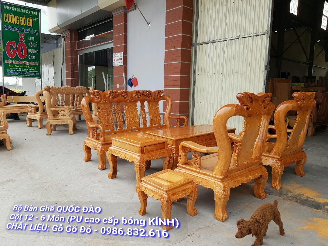 Bộ Bàn Ghế Phòng Khách Gỗ Gõ Đỏ - PU Cao Cấp, Tay 12