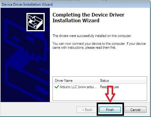 quá trình cái đặt driver cho arduino IDE đã hoàn thành
