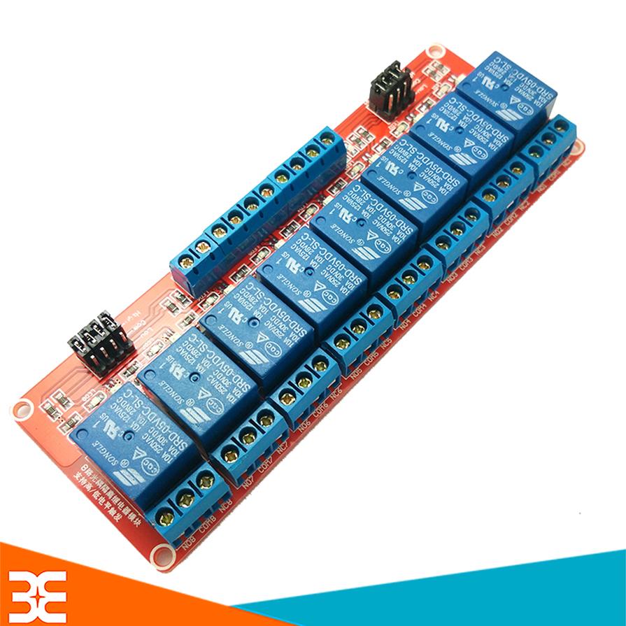 Mạch 8 Relay Opto Chọn Mức Kích High/Low (5/12/24VDC)
