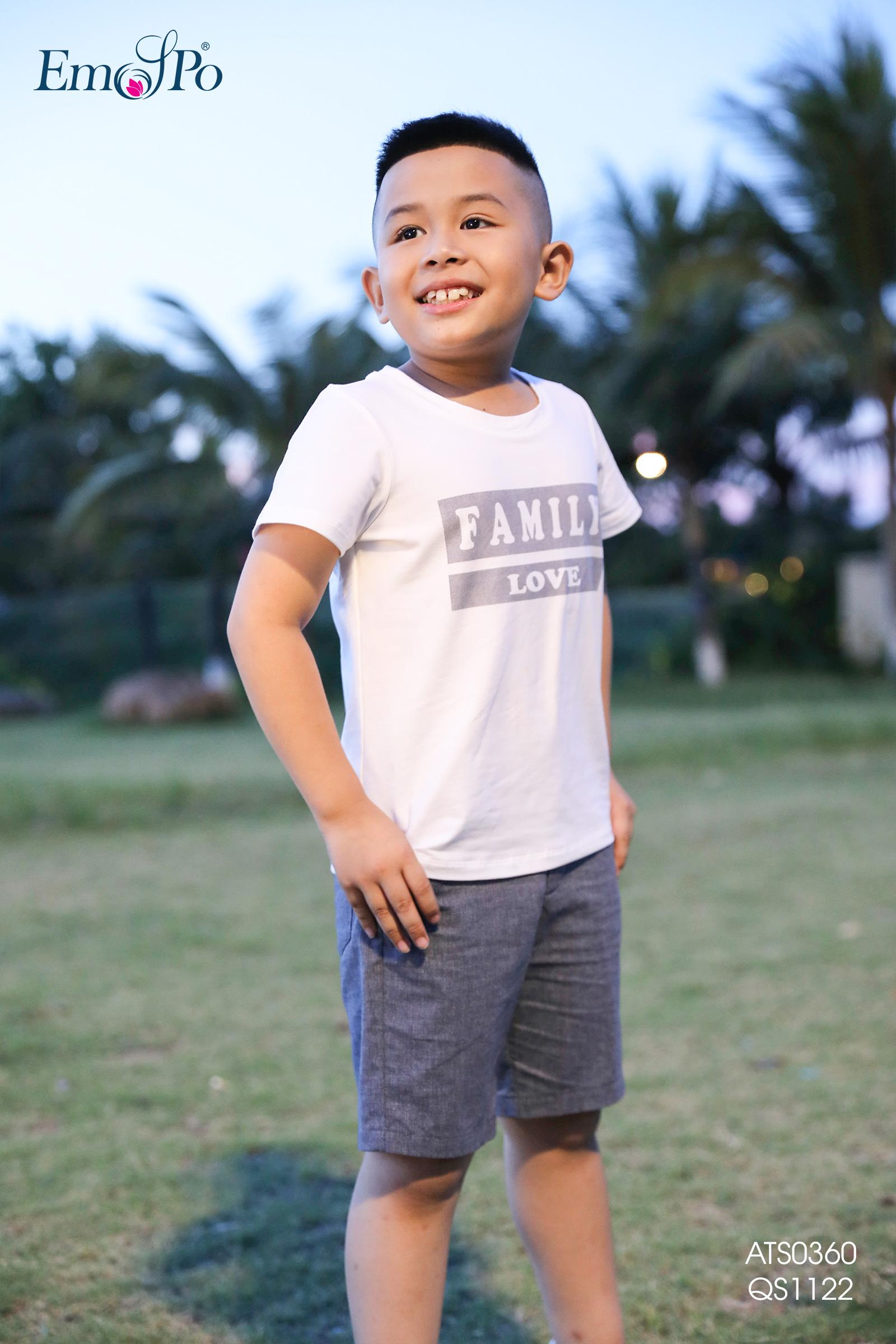 Áo thun, cổ tròn dáng suông, in chữ cho bé trai ATS0360 Thời trang cao cấp  EMSPO