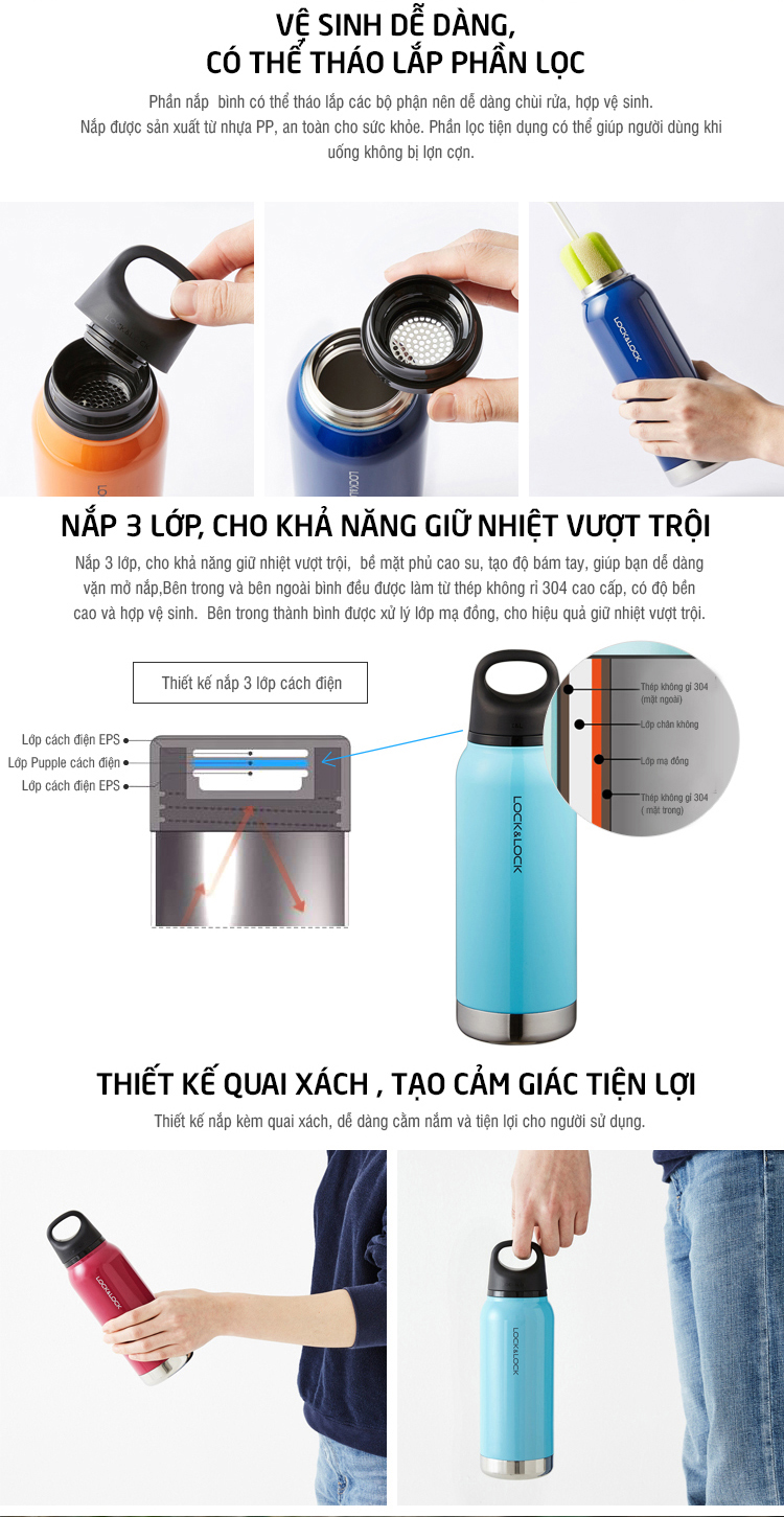 Binh giu nhiet lock&lock Loop Tumbler LHC530ml