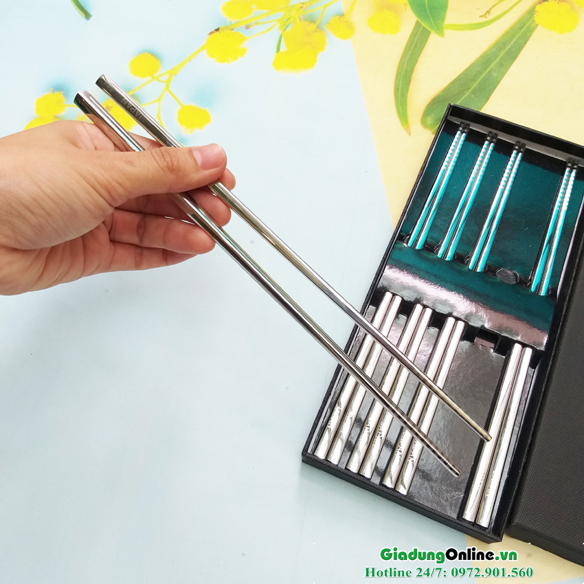 Set 5 đũa Inox 304 đặc ruột Seki Made in Japan