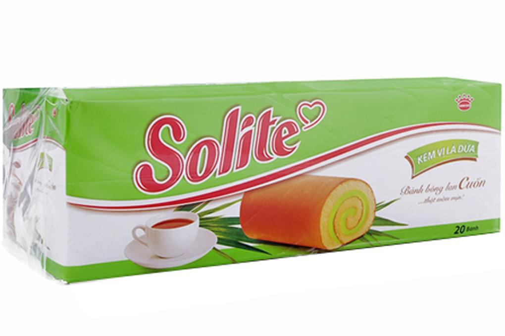 Bánh bông lan cuộn Solite kem vị lá Dứa hộp 360g