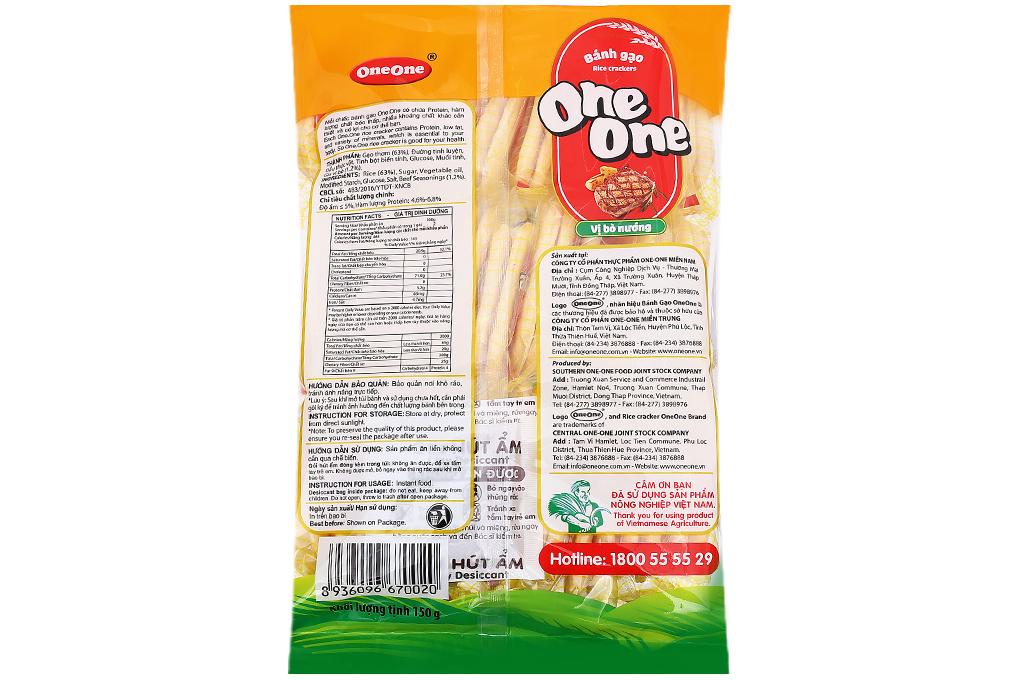 Bánh gạo One One vị bò nướng gói 150g