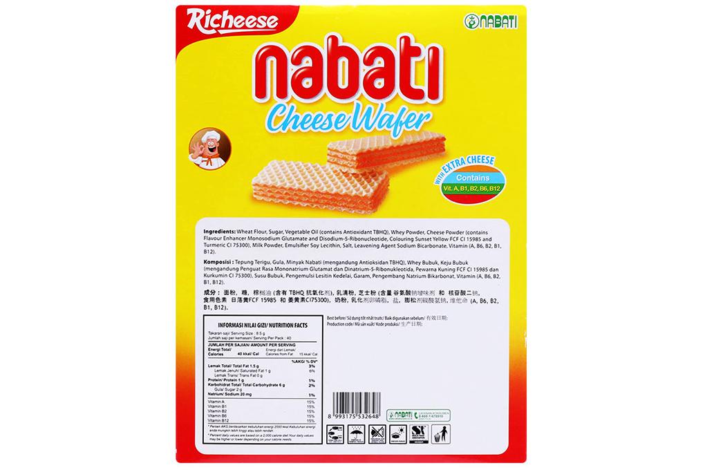Bánh xốp Nabati Kem Phô Mai hộp 340g