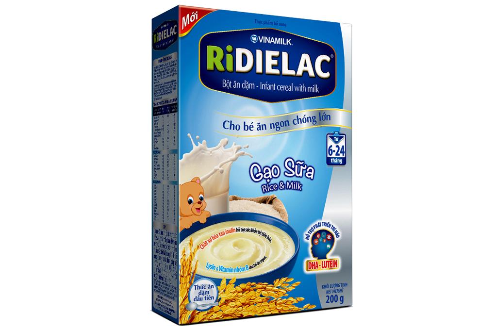 Bột ăn dặm RiDielac gạo sữa cho trẻ từ 6-24 tháng hộp 200g