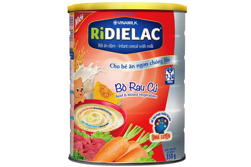 Bột ăn dặm Ridielac Bò rau củ cho trẻ từ 7-24 tháng lon 350g