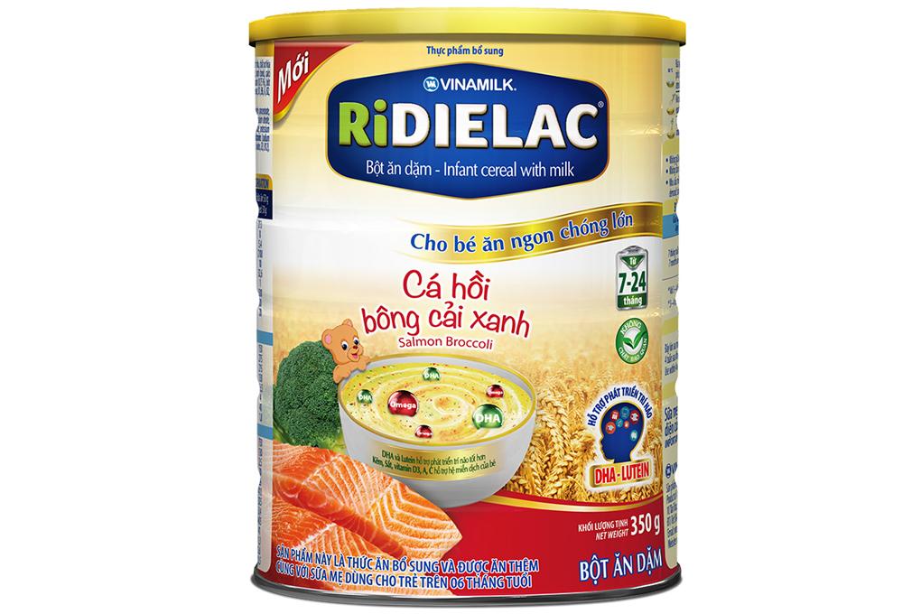 Bột ăn dặm Ridielac Cá hồi bông cải xanh cho trẻ từ 7-24 tháng lon 350g