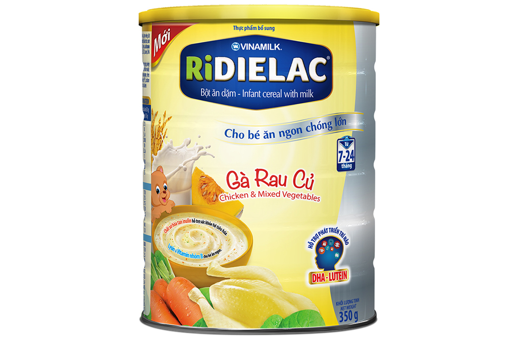 Bột ăn dặm Ridielac Gà Rau củ cho trẻ từ 7-24 tháng lon 350g