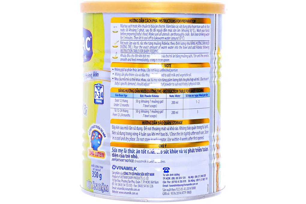 Bột ăn dặm Ridielac Heo bó xôi cho trẻ từ 7-24 tháng lon 350g