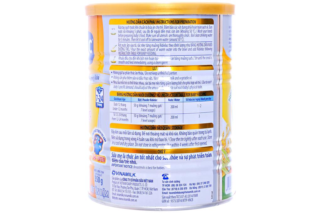 Bột ăn dặm Ridielac Heo cà rốt cho trẻ từ 7-24 tháng lon 350g