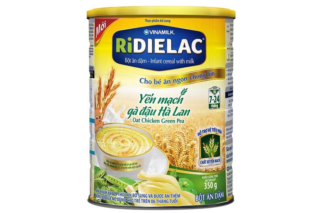 Bột ăn dặm Ridielac Yến Mạch Gà Đậu Hà Lan trẻ từ 7-24 tháng lon 350g