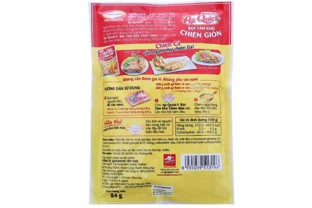 Bột tẩm khô chiên giòn Aji-Quick gói 84g