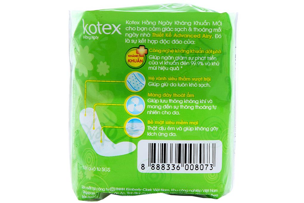 Băng vệ sinh hàng ngày Kotex kháng khuẩn không cánh gói 8 miếng