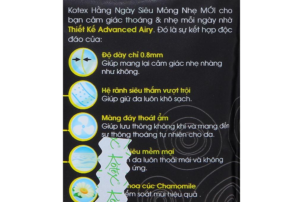 Băng vệ sinh hàng ngày Kotex hương Cúc không cánh gói 8 miếng