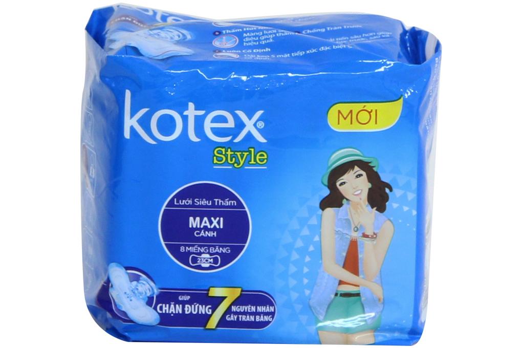 Băng vệ sinh phụ nữ Kotex Style Maxi cánh 23cm, 8 miếng
