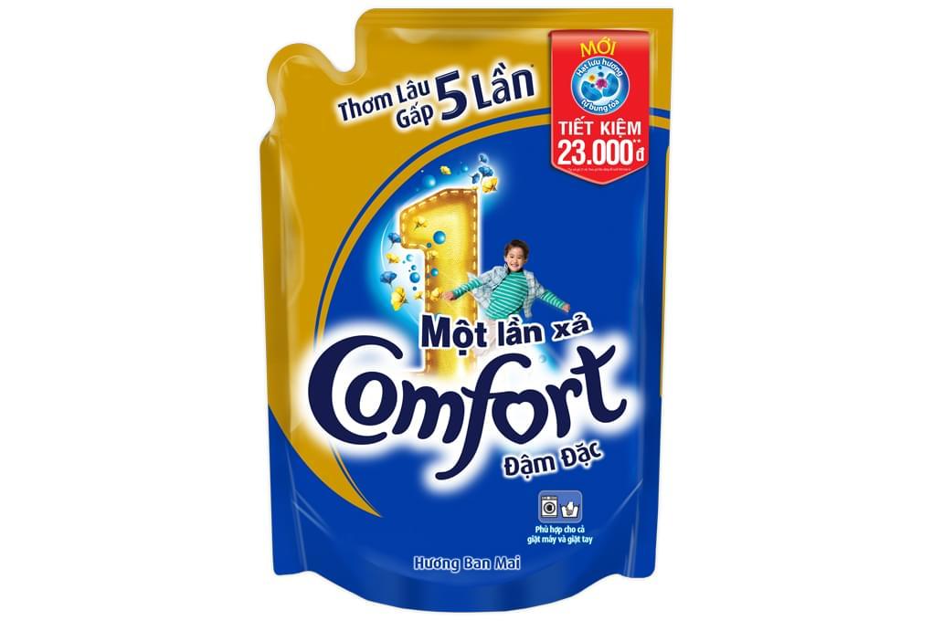 Nước xả Comfort đậm đặc 1 lần xả hương Ban mai túi 1.6 lít