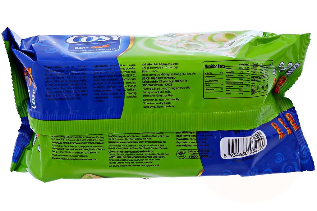 Bánh quế Cosy vị kem Lá Dứa gói 160g