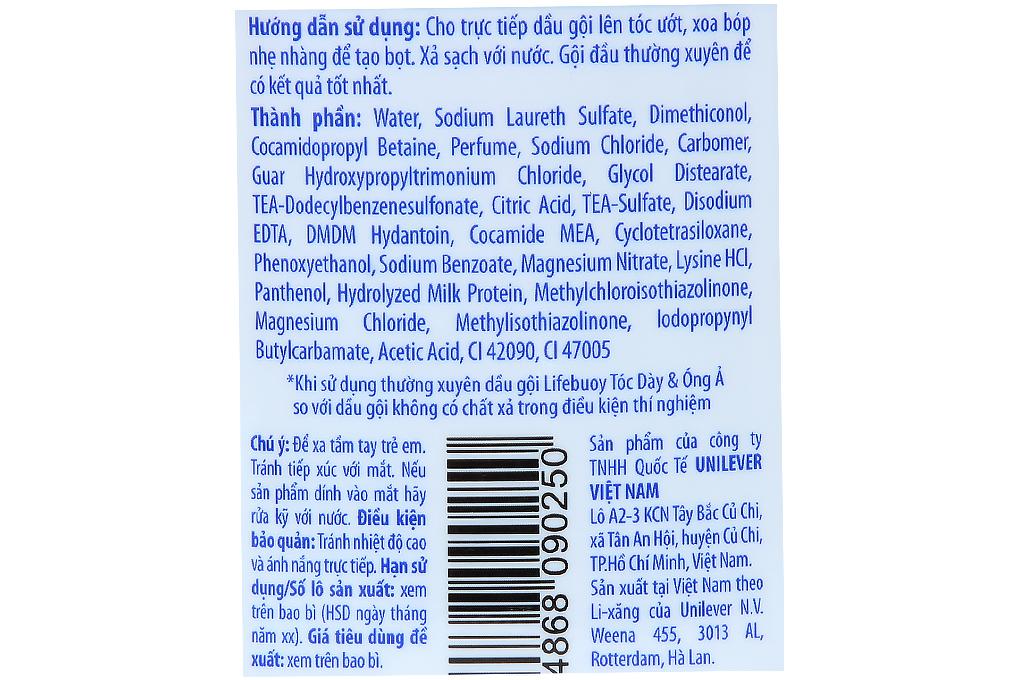 Dầu gội Lifebuoy tóc dày óng ả chai 170g